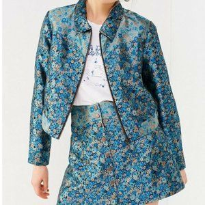 Urban Outfitter Women Floral Jacquard Crop Set